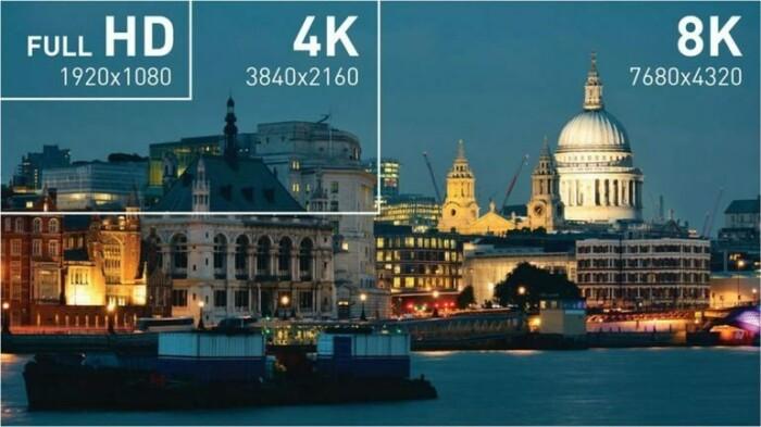 Наглядная разница в расширениях HD, 4K и 8К