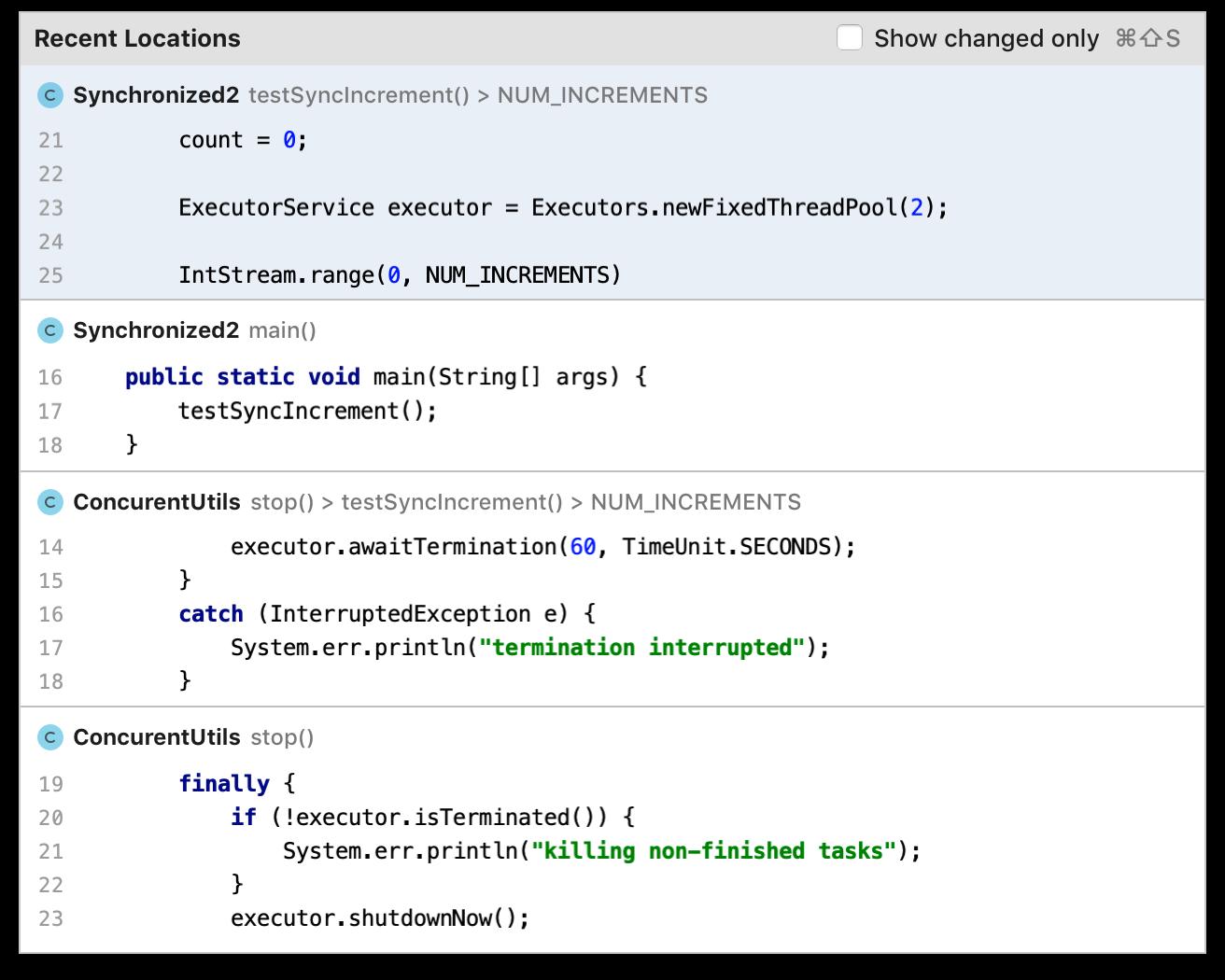 Попап наглядно показывает, в каком месте кода недавно находился курсор