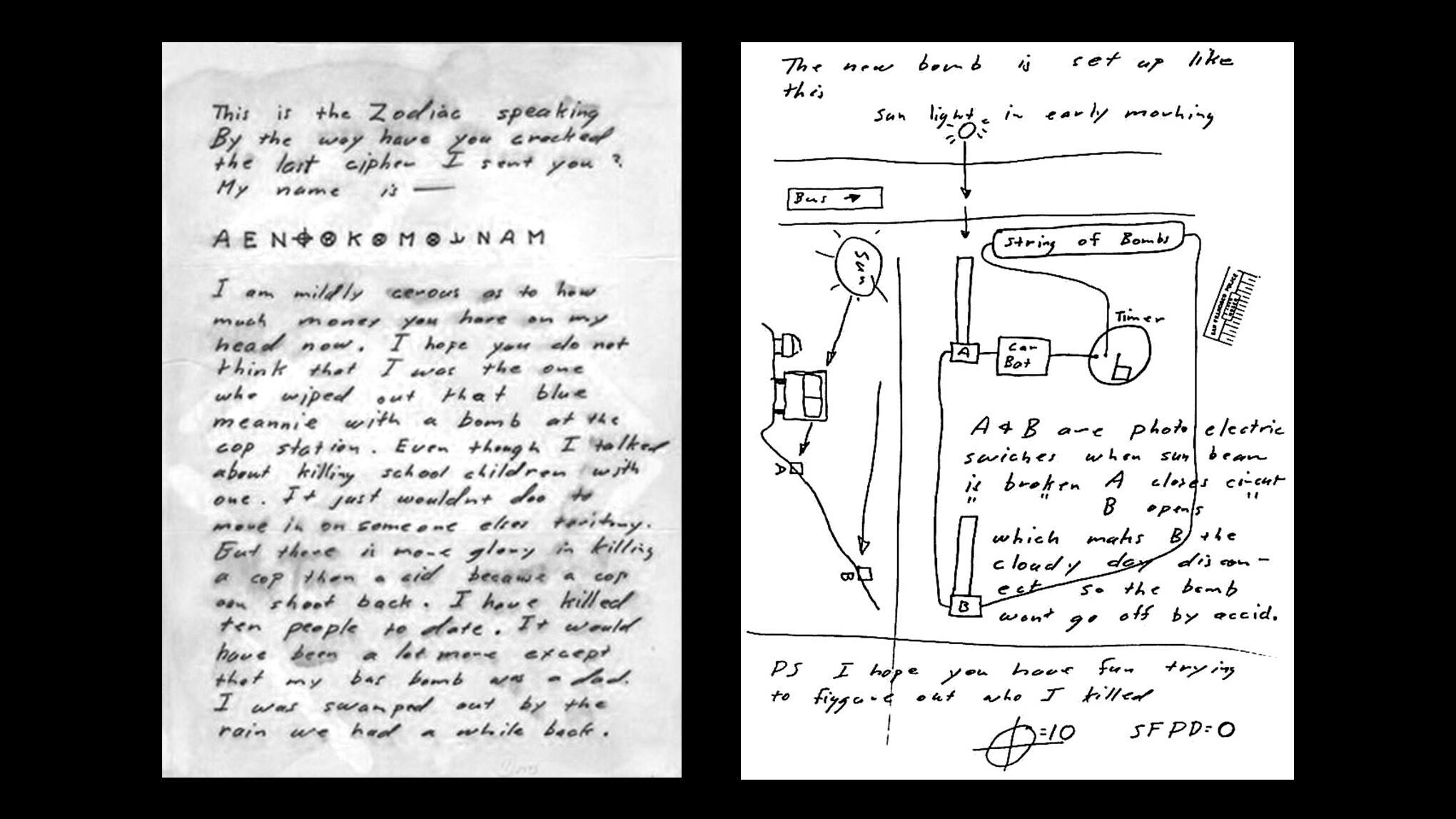Письмо с шифром и схемой бомбы, присланное Зодиаком в апреле 1970 года