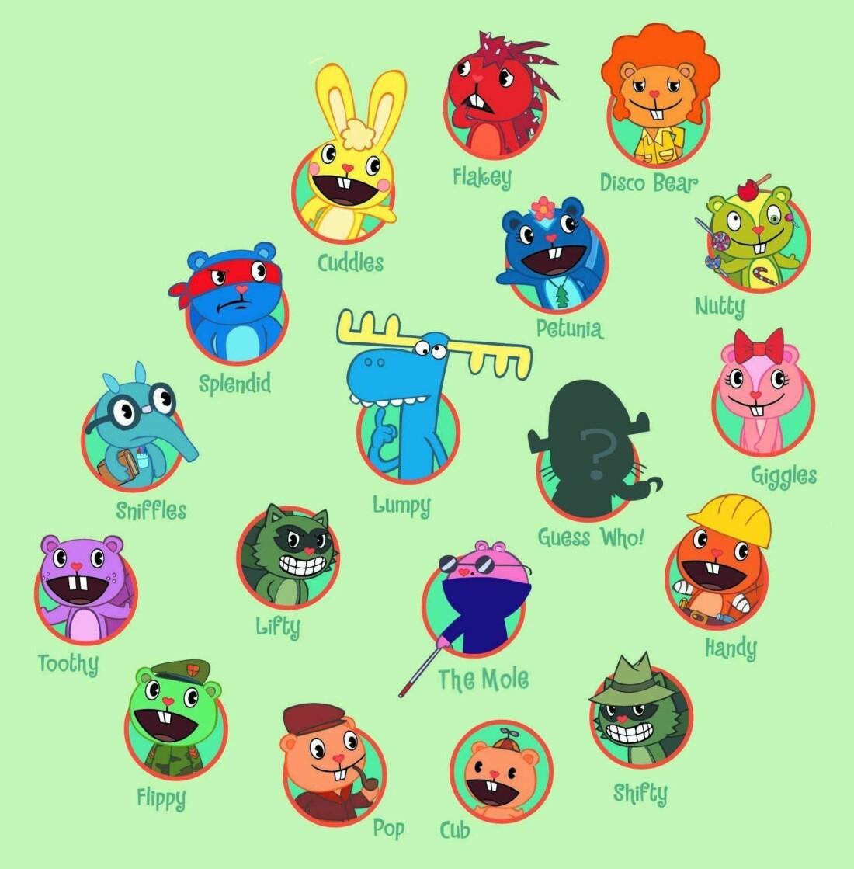 Часть персонажей Happy Tree Friends
