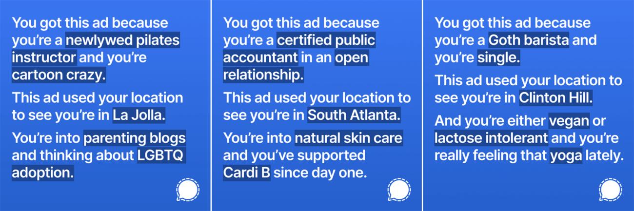 Signal разместил в Instagram рекламу с данными, которые собирает соцсеть о каждом пользователе,  и получил бан