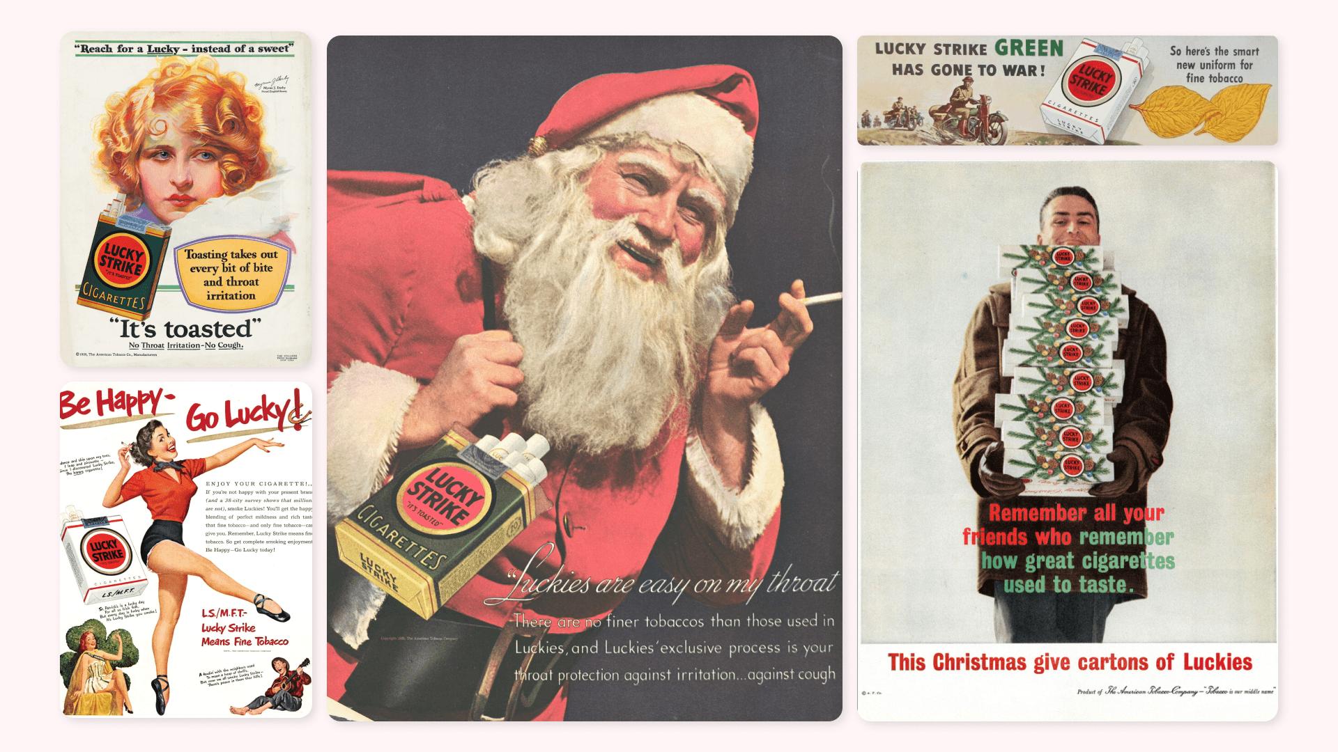 Курящий Санта, рекомендации врачей и средство для похудения: как рекламировали табак Lucky Strike в прошлом веке