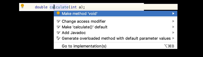 Контекстные действия в IntelliJ IDEA подсказывают, как исправить код