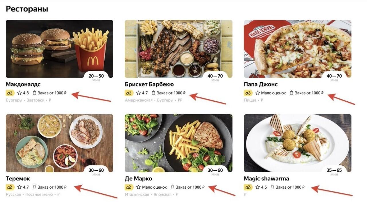 Сервис «Яндекс.Еда» стал повышать сумму минимального заказа до 1000 рублей в периоды высокого спроса