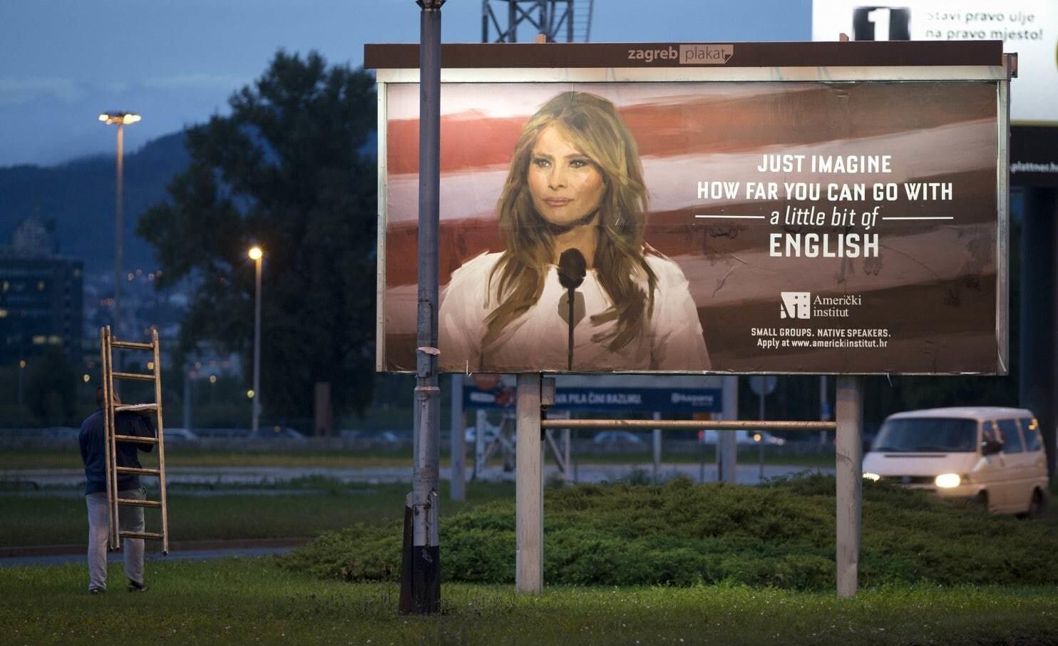 Хорватский институт использовал фото Меланьи Трамп для рекламы изучения английского языка