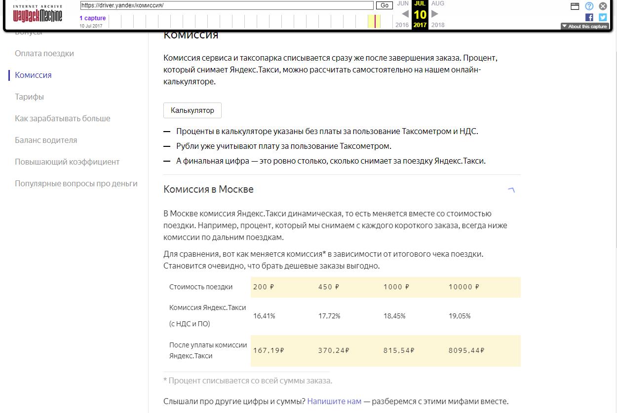 Водители «Яндекс.Такси» пожаловались на резкий рост комиссии в Москве