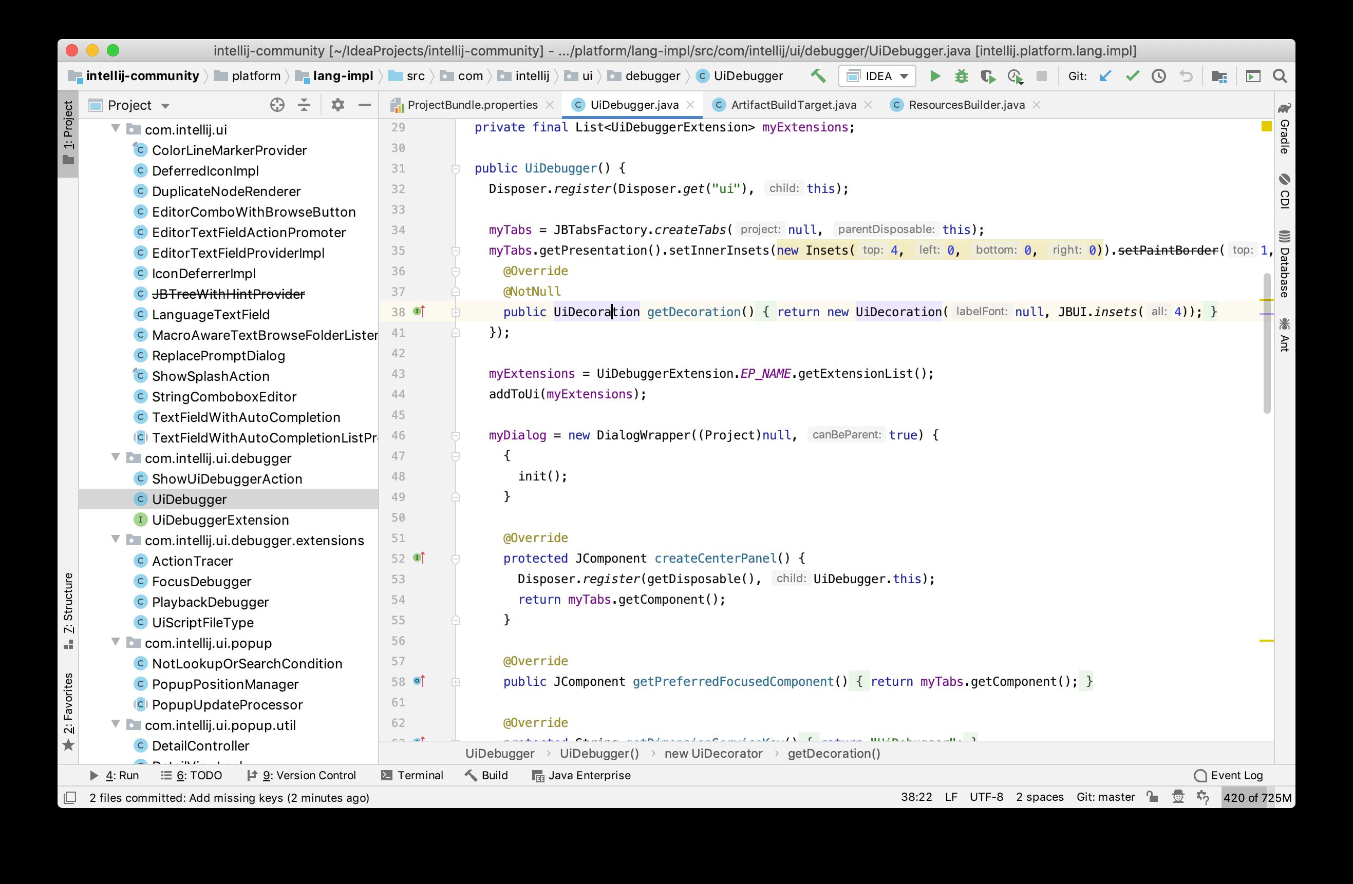 Главный экран IntelliJ IDEA: слева все файлы проекта, справа код