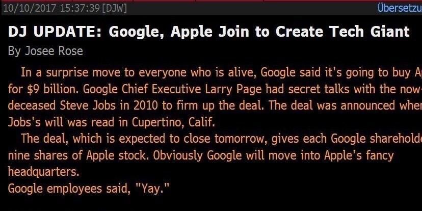 Агентство Dow Jones сообщило о фейковом слиянии Apple и Google по воле Стива Джобса