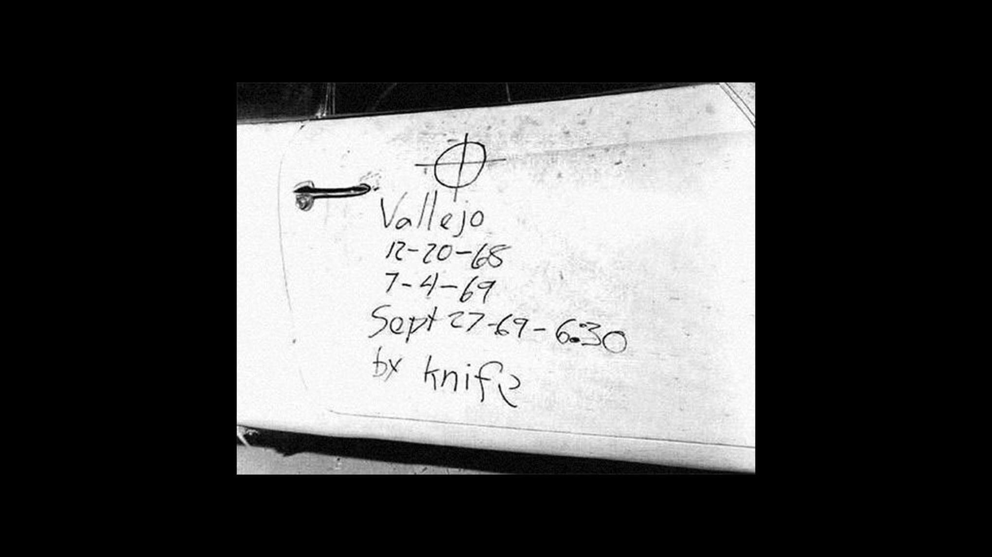 Надпись на машине Брайана Хартнелла, оставленная Зодиаком