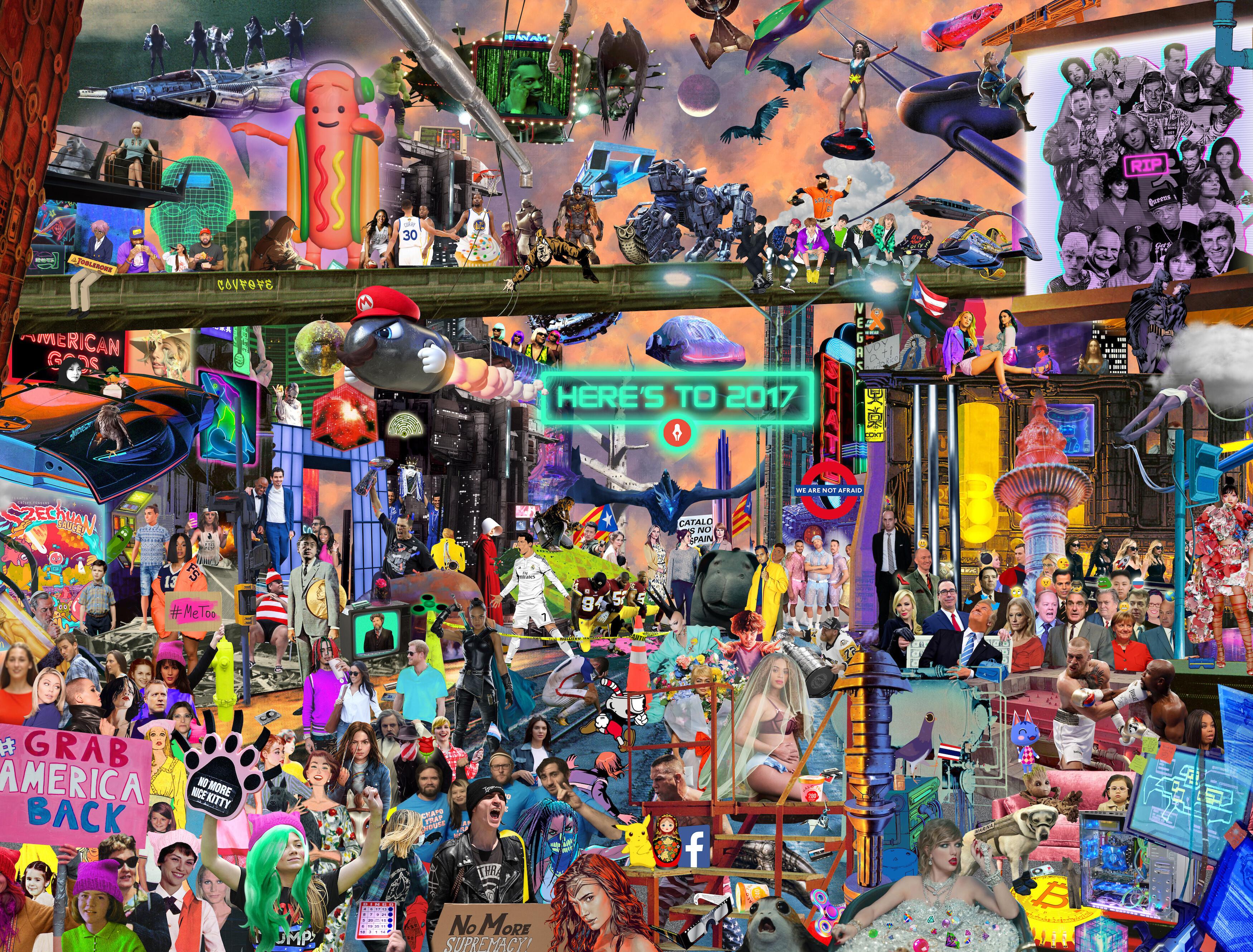 Дизайнер изобразила главные мировые события 2017 года на одной картинке
