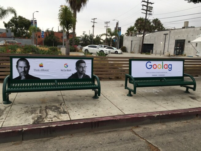 Близ офиса Google неизвестный обклеил билборды и скамейки в поддержку уволенного инженера