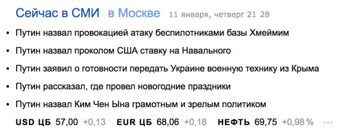 «Яндекс.Новости» прямо сейчас