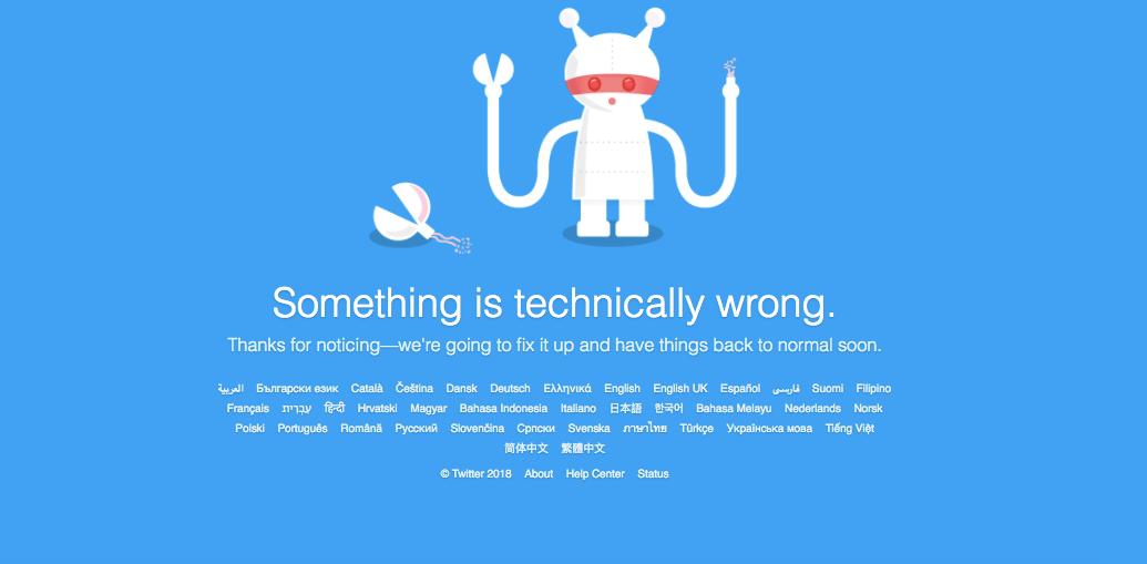 В работе Twitter по всему миру произошёл сбой